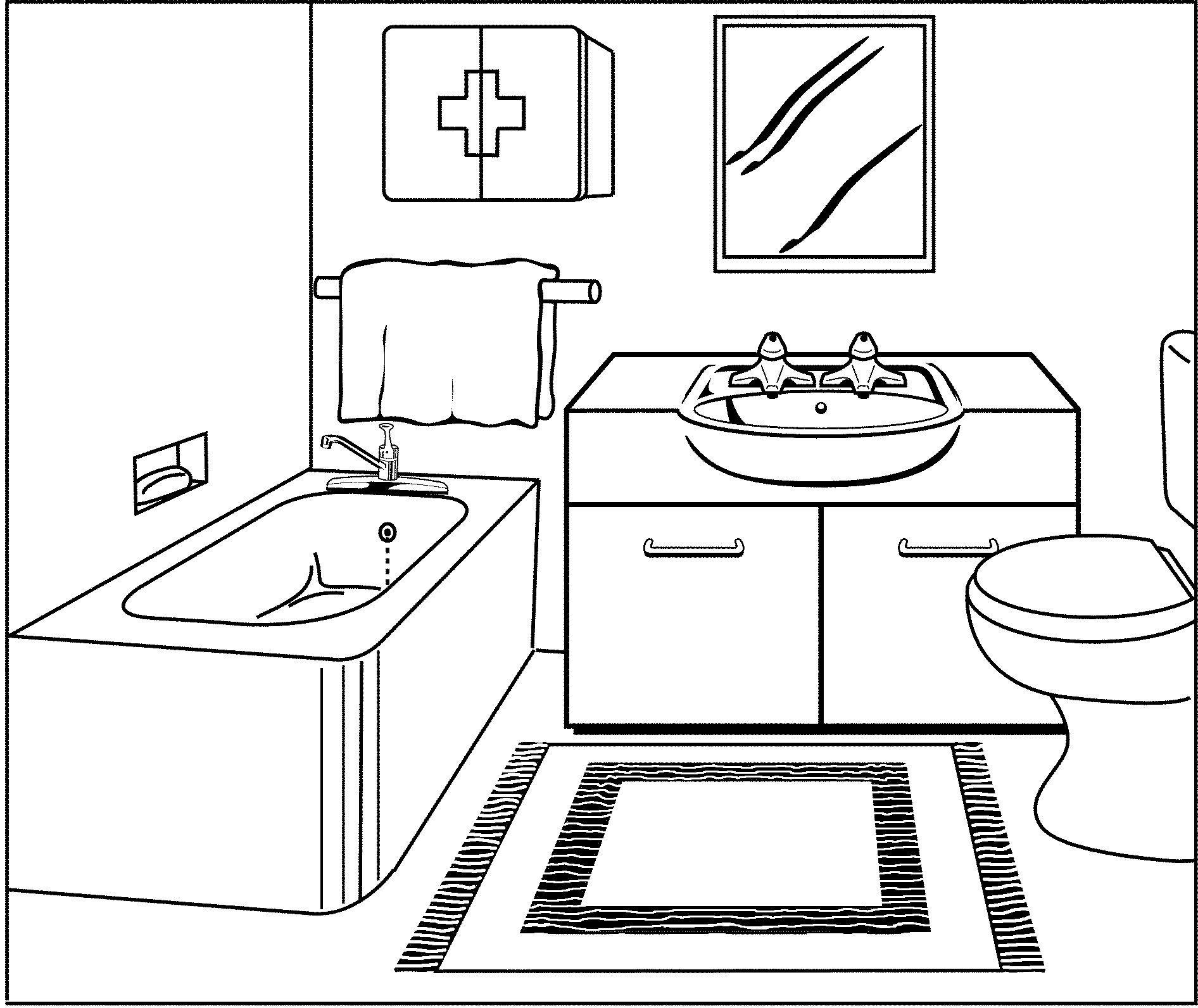 Simple Bathroom Drawing