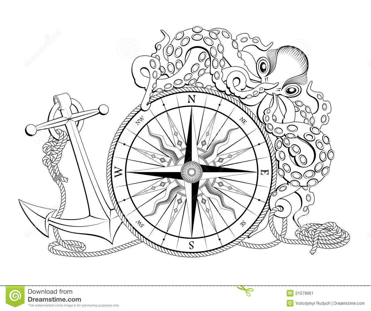 Compass Rose Designs With Anchor