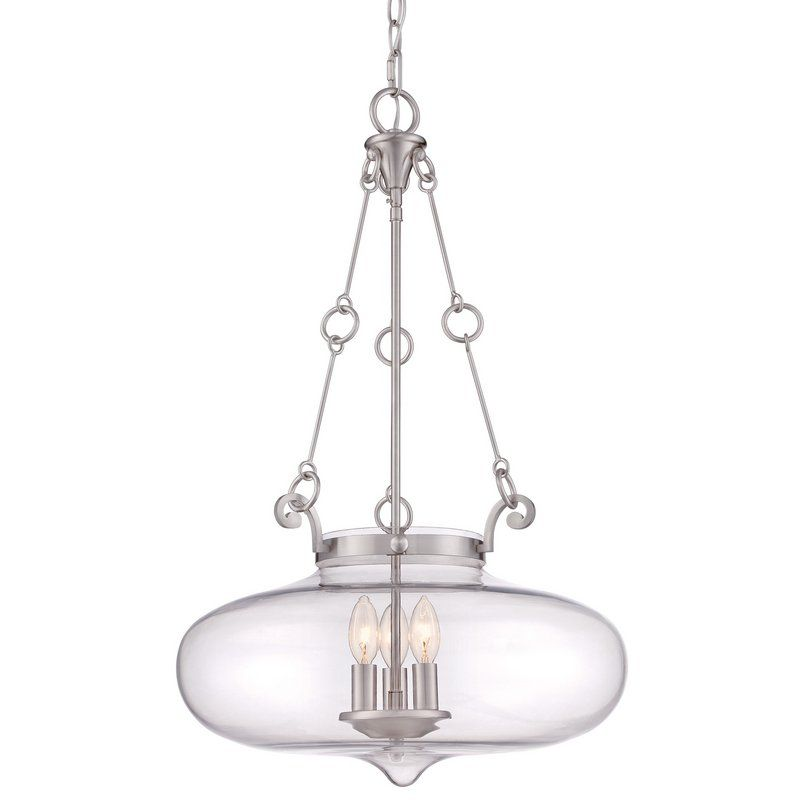 Signature 3 Light Urn Pendant With Clear Glass Quoizel 3 Light Pendant Urn Pendant
