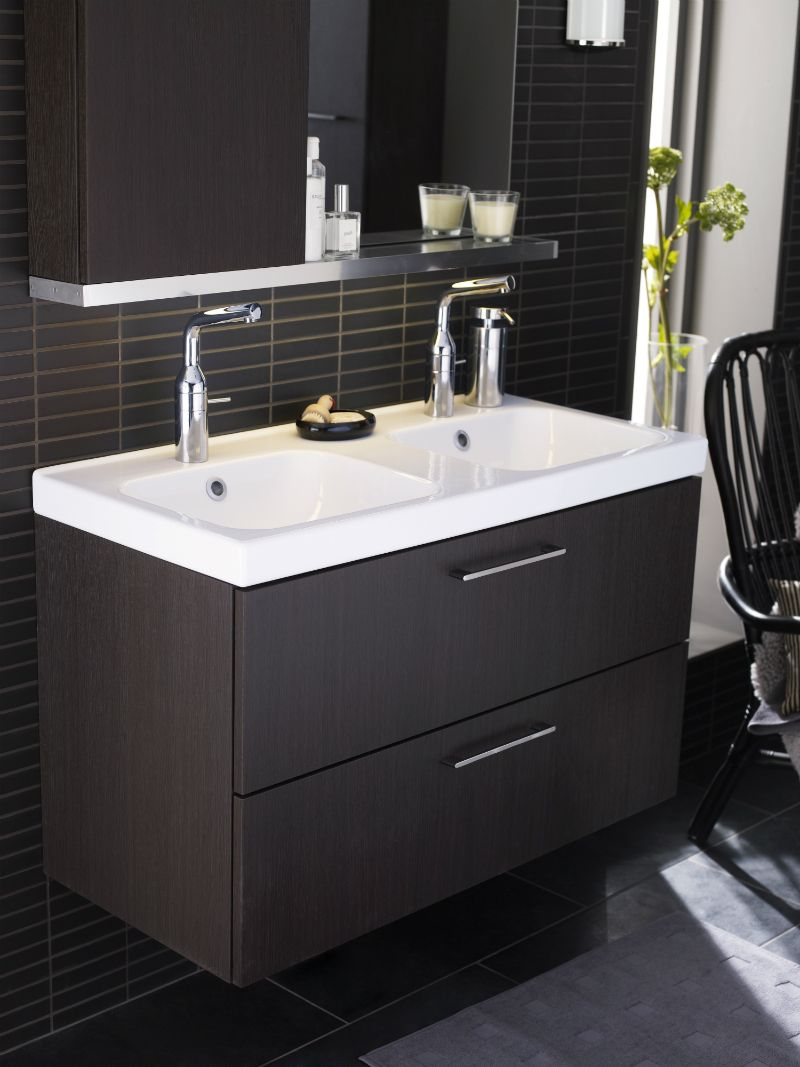 Bathroom. Small Bathroom Design Idea with Modern Black Vanity also Double  White Stylish Sink and