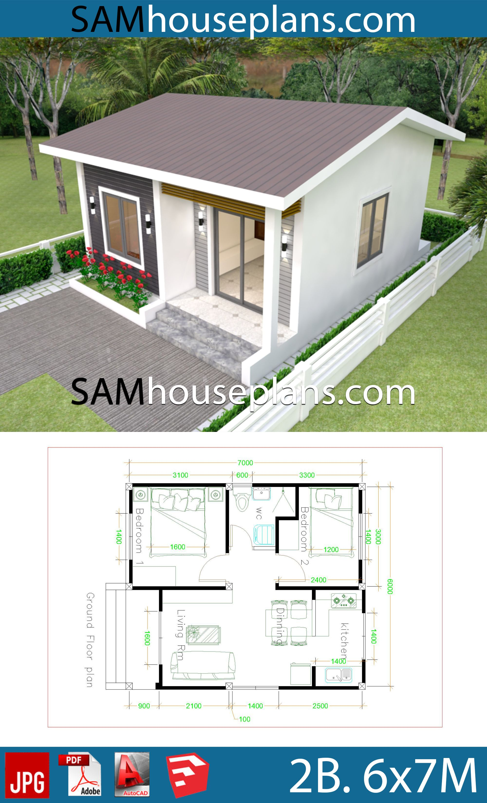 House Plans 6x7m With 2 Bedrooms Sam House Plans Casas Pequenas Prefabricadas Casas Prefabricadas Casas Prefabricadas Economicas