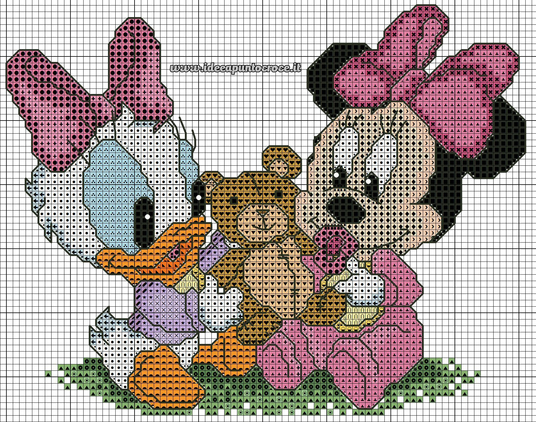 Baby daisy minnie 1 of 2 disney puntocroce cross for Immagini disney punto croce