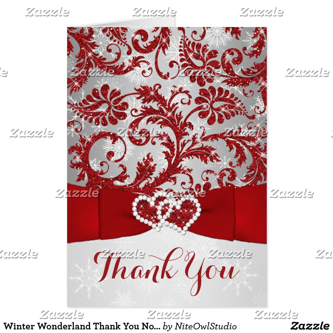 Winter Wonderland Thank You Note Card - Red | Note cards, Winter ...