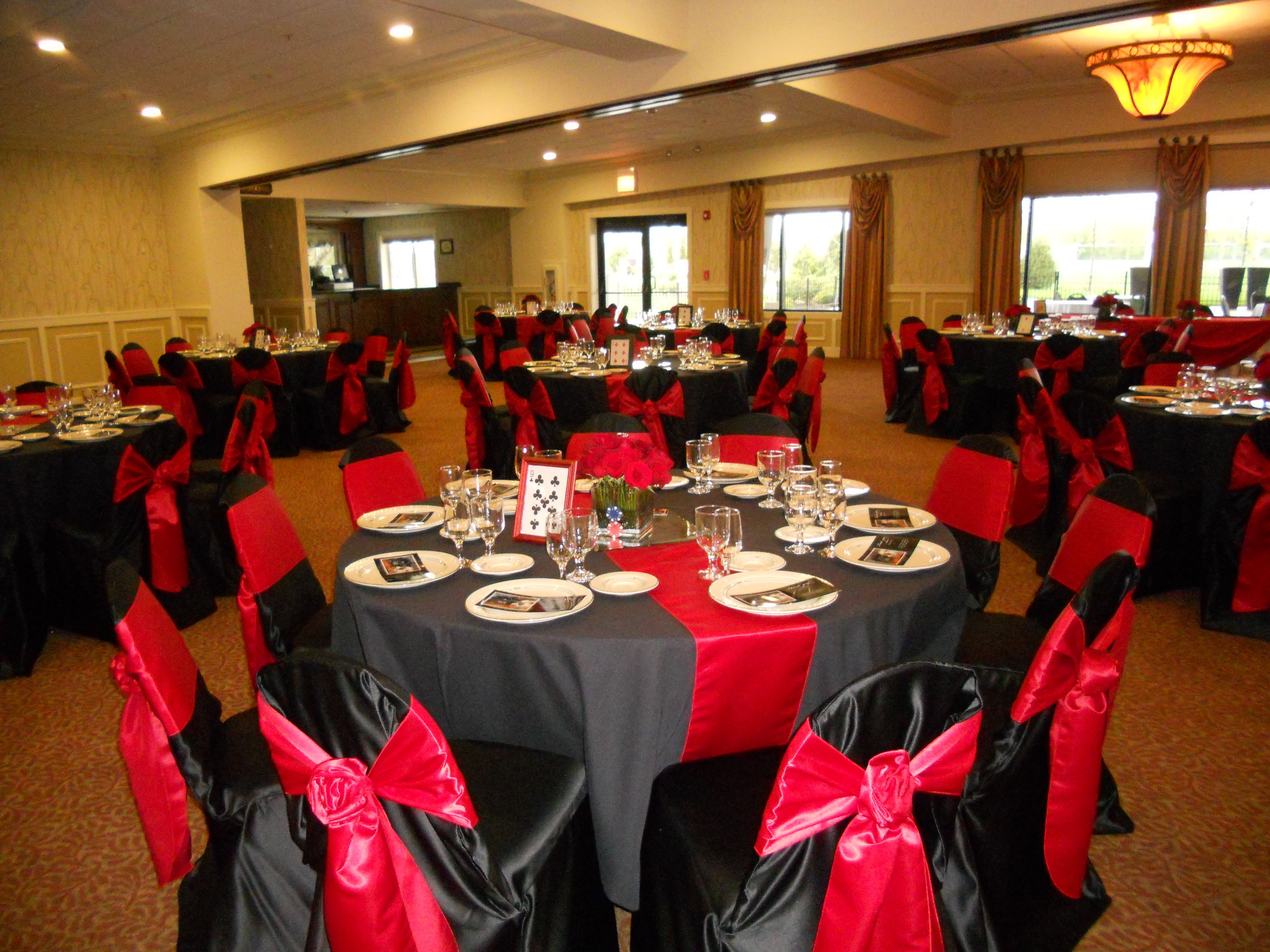 Red and black wedding decor  Black Chair Covers with Red Rose Ties  Wedding Decor  Pinterest