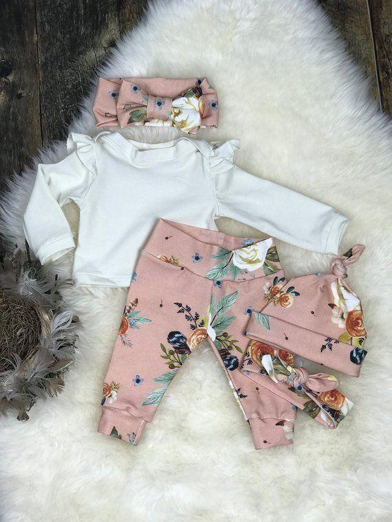 Photo of Neugeborene Mädchen Coming Home Outfit, erröten Aquarell Erdfarben Mädchen Outfit, Mädchen Take Home Outfit, Neugeborene Kleidung, Premie Kleidung