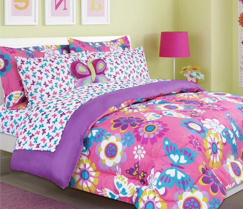 Girls Pink Purple Maya Butterfly Flowers Bed In A Bag
