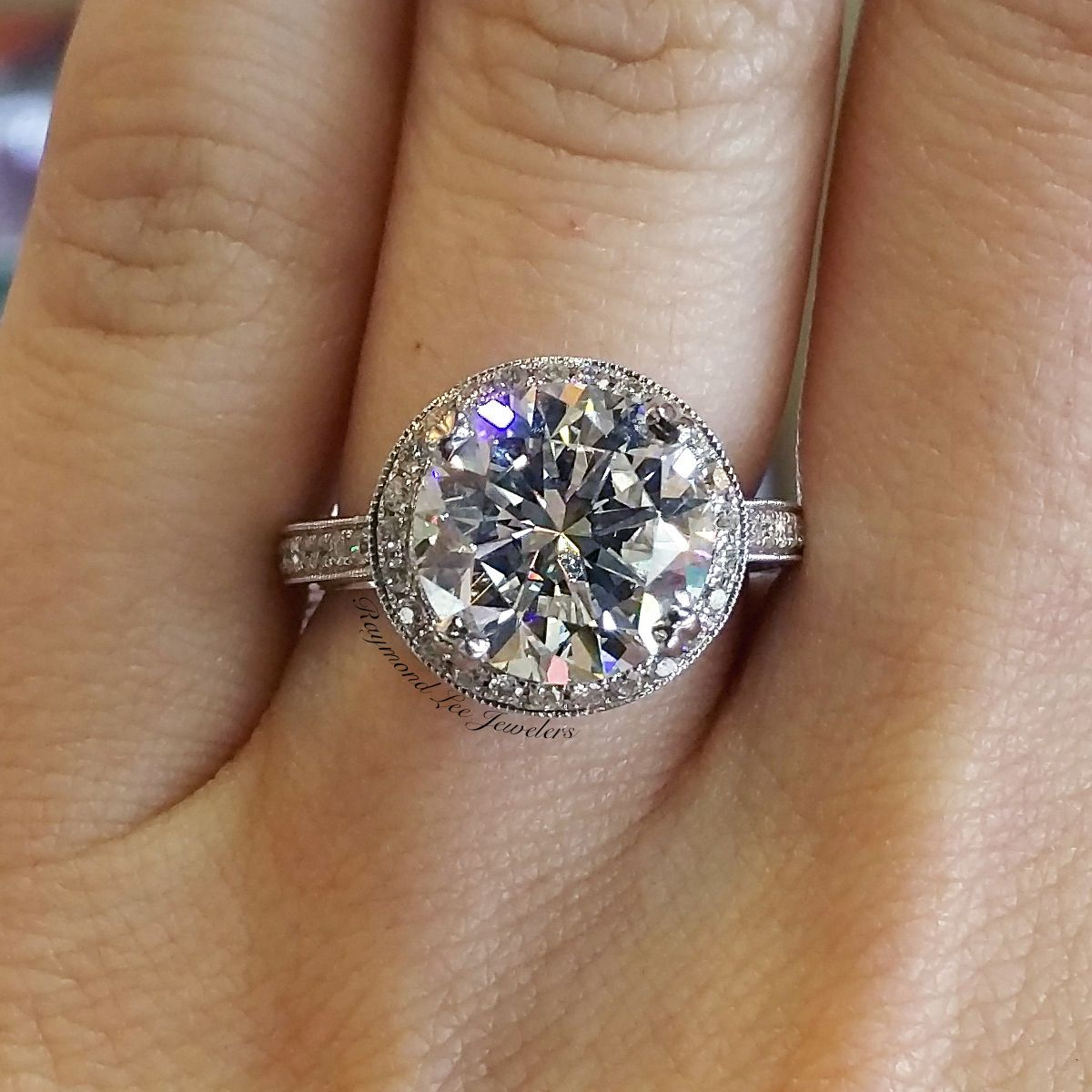 14k white gold blue sapphire diamond cluster ring - Clearance Wedding Rings
