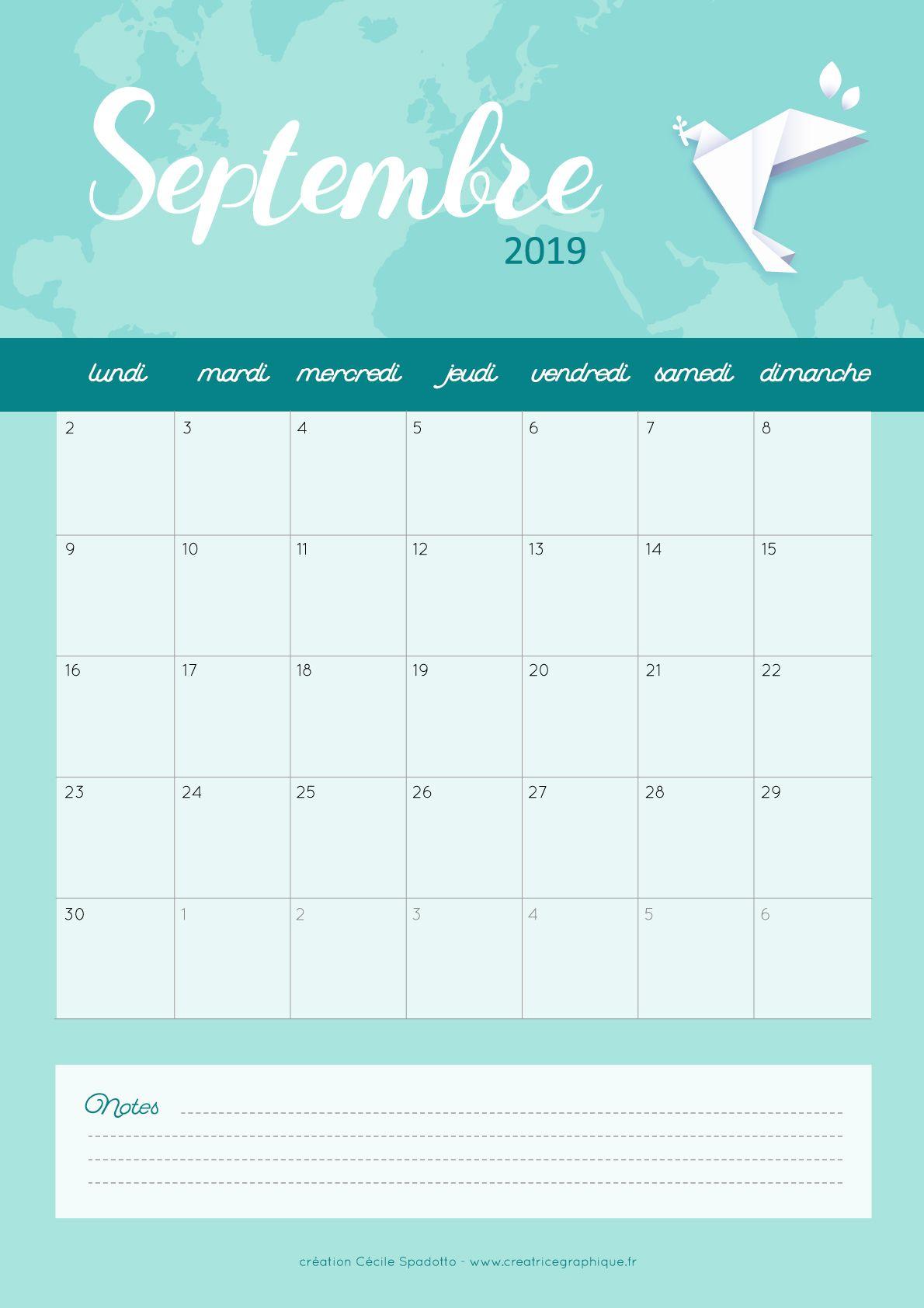 Calendrier Telecharger.Calendrier Septembre 2019 Mes Creations De Calendriers
