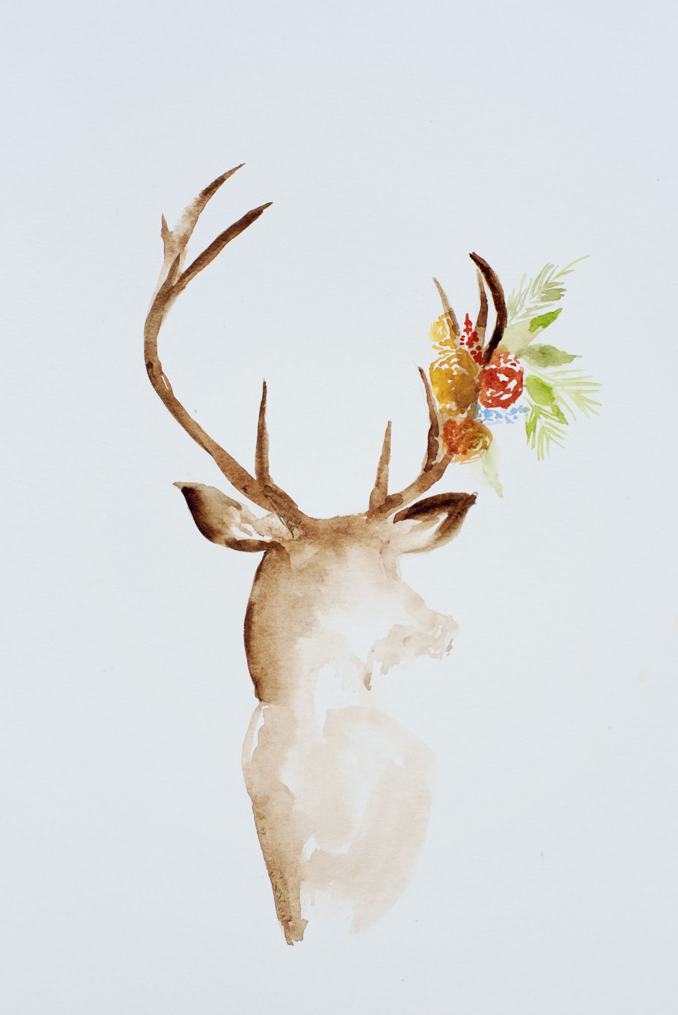 Deer Watercolor 2 Jpg File Shared From Box Christmas