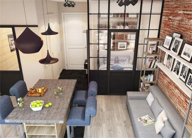 Pequeno apartamento ou kitnet um projeto de 30 m2 em 2019 - Como decorar un estudio pequeno ...