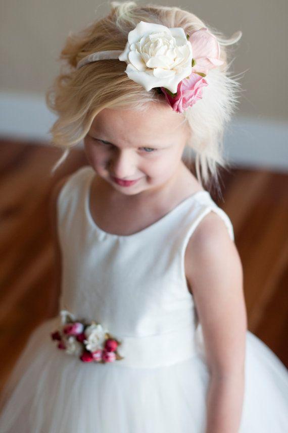Princess-Dreams Baby Haarband Taufe rosa pink weiß Fotografie Kopfschmuck Blume