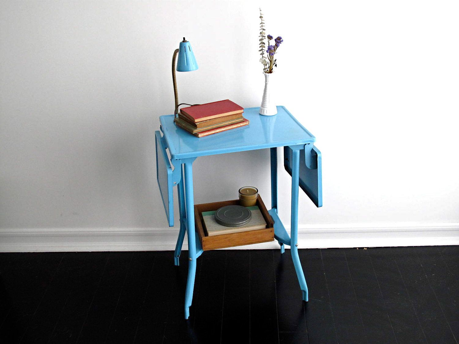 Metal Typewriter Table With Light Blue Side By SnapshotVintage. $118.00,  Via Etsy.