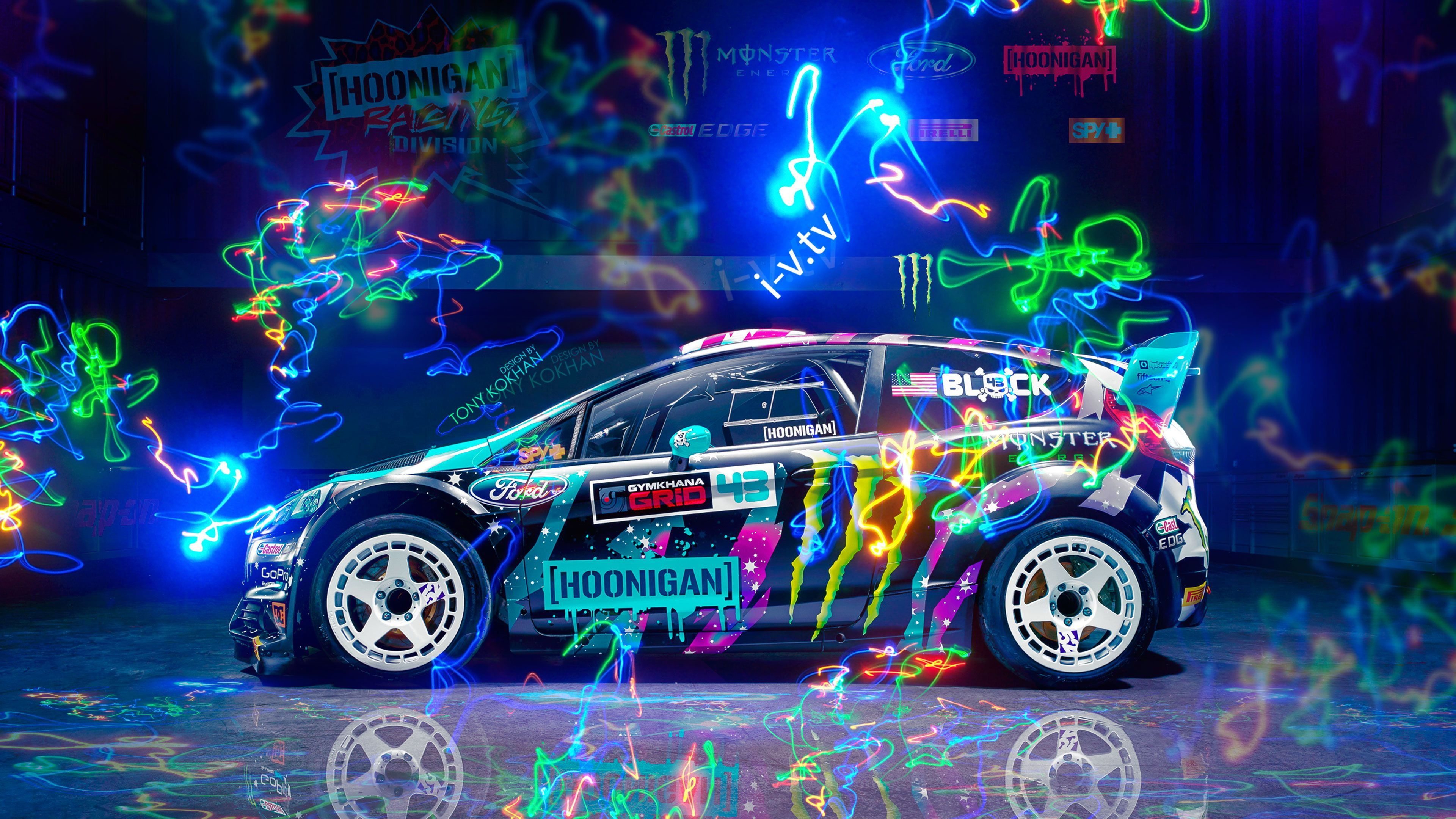 Black 5 Door Hatchback With Graffiti Ford Ford Fiesta Colorful