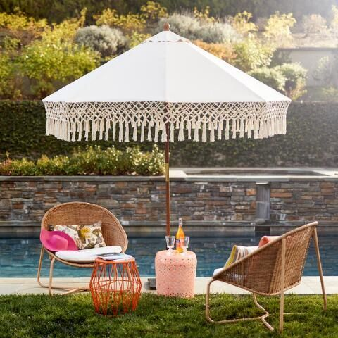 Outdoor Umbrella Canopy With Fringe