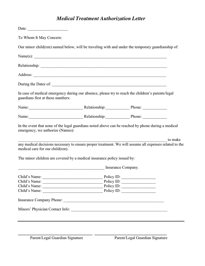 sample medical authorization letter download treatment consent form