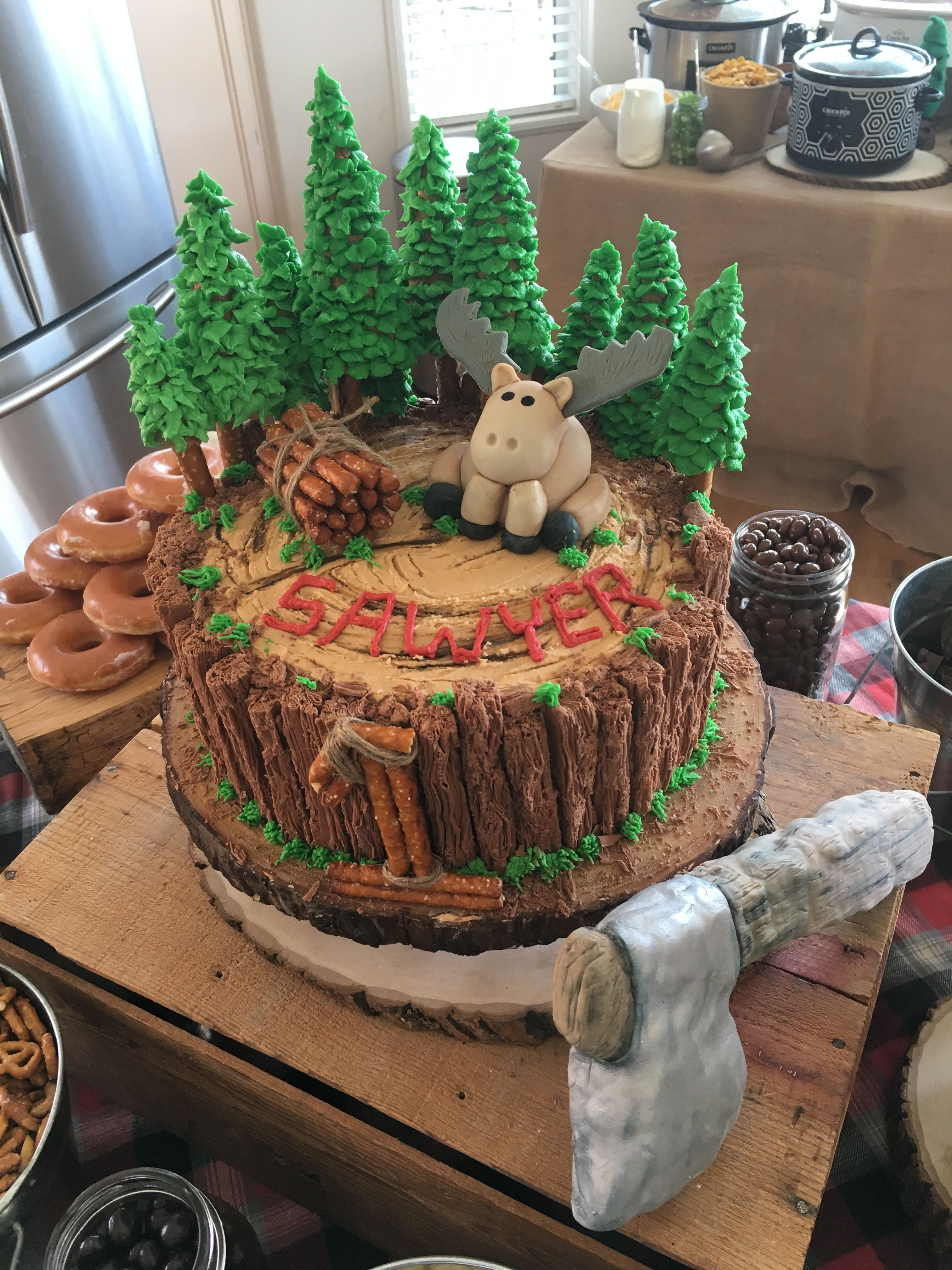 Lumberjack Theme Cake For One Year Old First Birthday Lumberjack Birthday Party Boy Birthday Party Themes Boy Birthday Cake