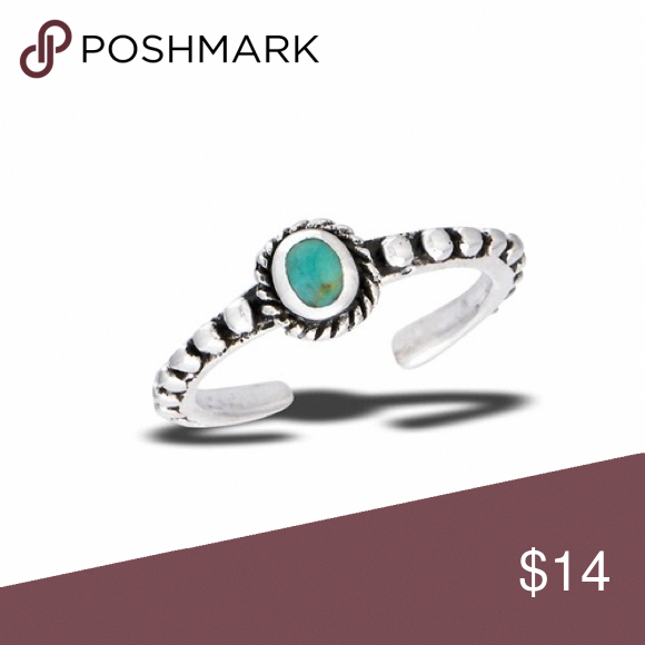 Size 3 Adjustable Sterling Silver Synthetic Turquoise Toe Midi Ring