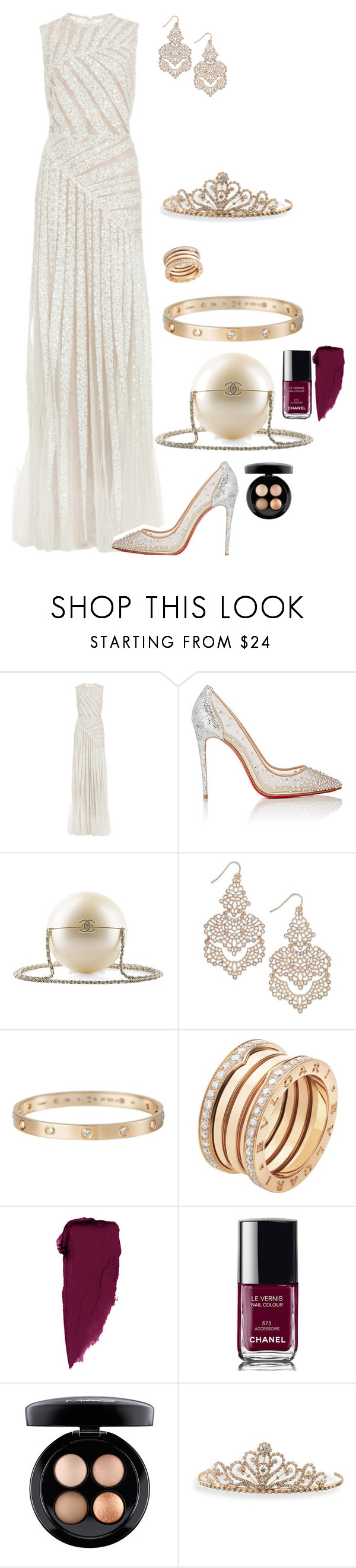 """""""Queen"""" by roney121 ❤ liked on Polyvore featuring Elie Saab, Christian Louboutin, Chanel, INC International Concepts, Cartier, Bulgari, MAC Cosmetics and BillyTheTree"""