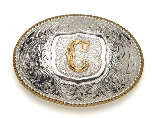 Hebilla western Crumrine Silversmiths chapada en plata y bronce decorada  con la inicial C en el centro a la venta en Corbetos Boots. 90f486bef48c