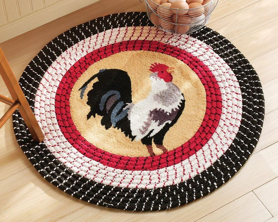Collections Etc   Rooster Kitchen Round Braided Rug