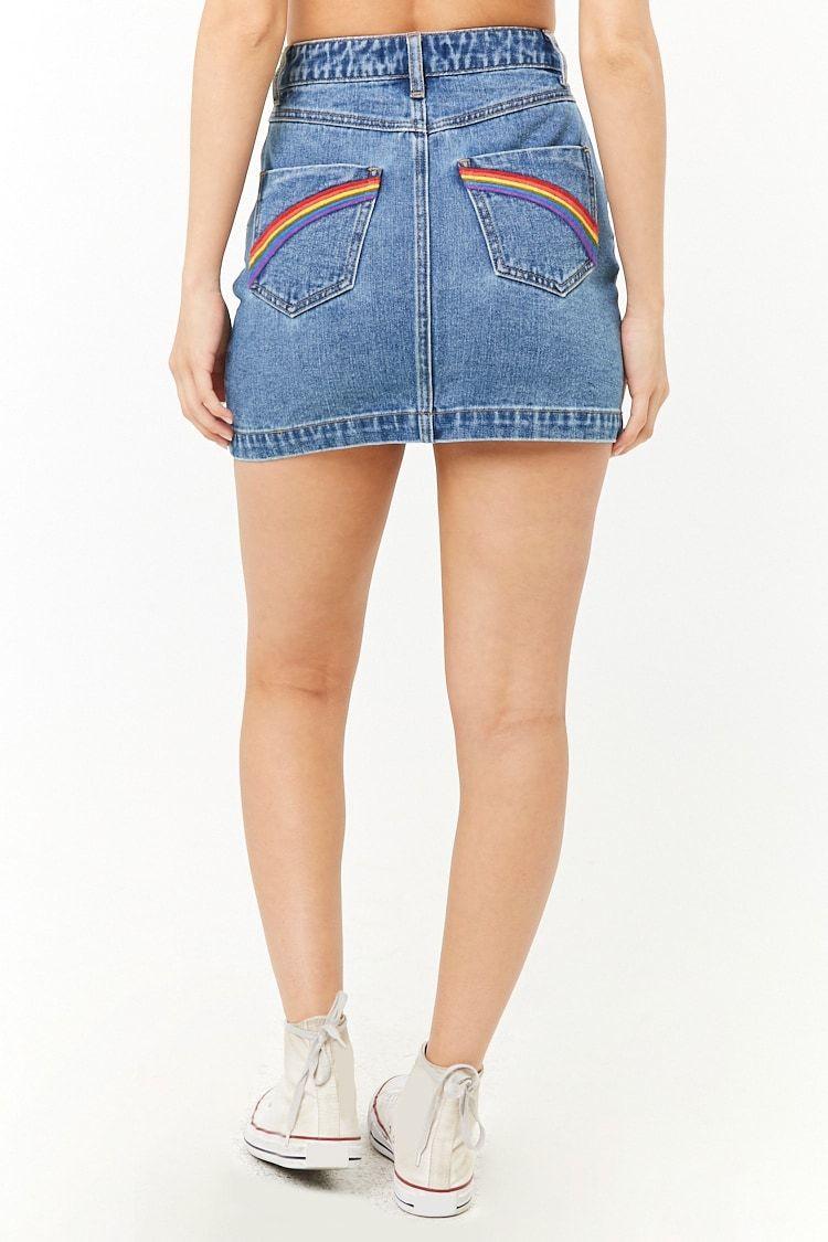 599f3cd327f Embroidered Rainbow Denim Mini Skirt | Pride in 2019 | Mini ...