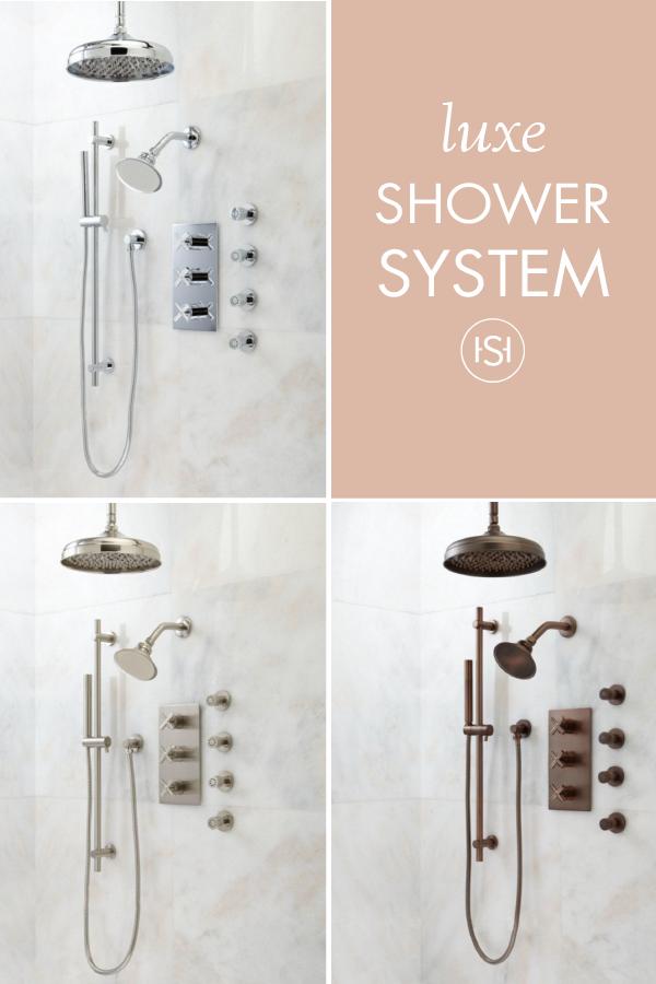 Exira Thermostatic Shower System - Dual Shower Heads, Hand Shower ...