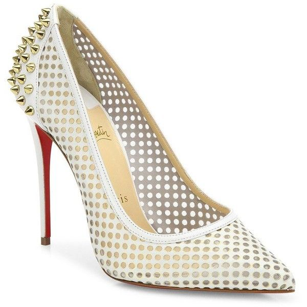 Christian Louboutin Guni 100 Spiked Perforated Leather Point-Toe Pumps  (£732) ❤