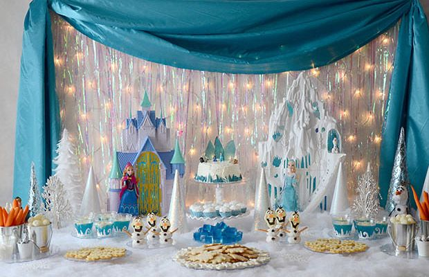 frozen party theme created this impressive party food table for
