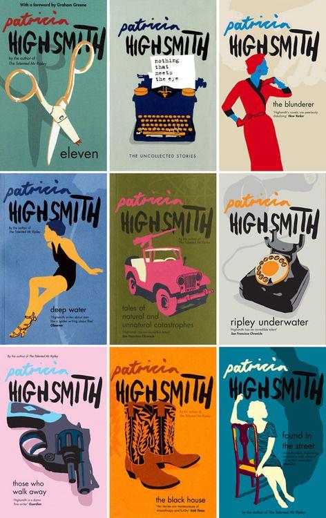 Cubiertas de libros de Patricia Highsmith, diseñadas por Nathan Burton.