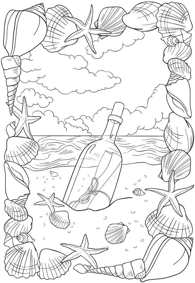 Message In A Bottle Free Coloring Sheet For Adults Beach Ocean Coloring Pages Coloring Books Adult Coloring Pages