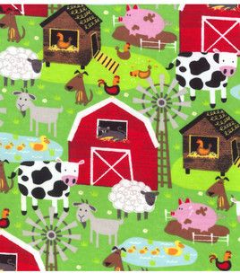 Farm Animal Print Flannel material