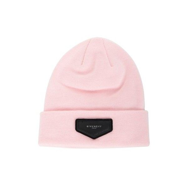 GIVENCHY Patch Detail Beanie (810 AED) ❤ liked on Polyvore featuring accessories, hats, pink, leather patch hat, acrylic hat, pink beanie, pink hats and patch hat