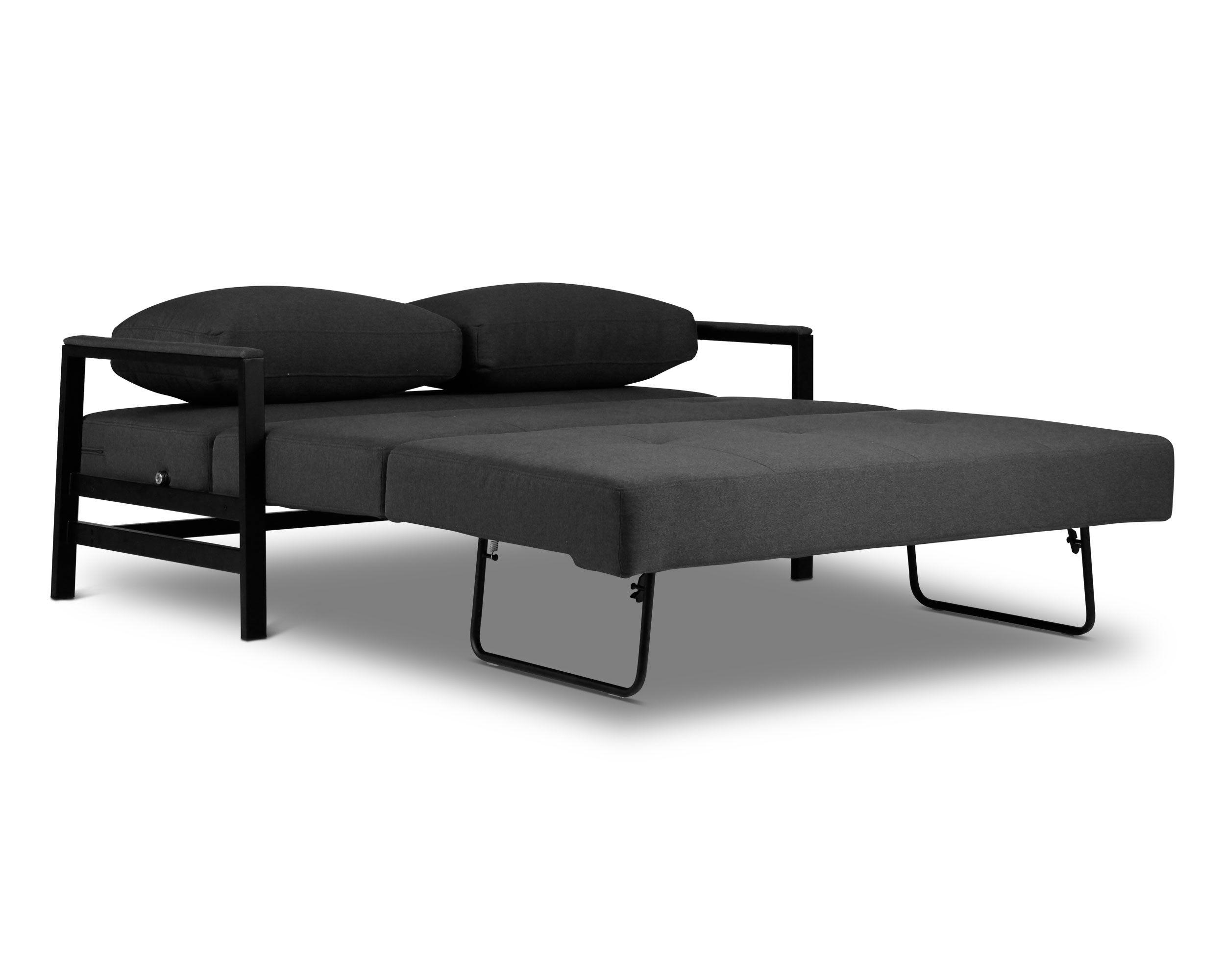 Kobe Fabric - 2 Seat Sofa Bed - Gun Metal Grey - Lounge Lovers | We ...
