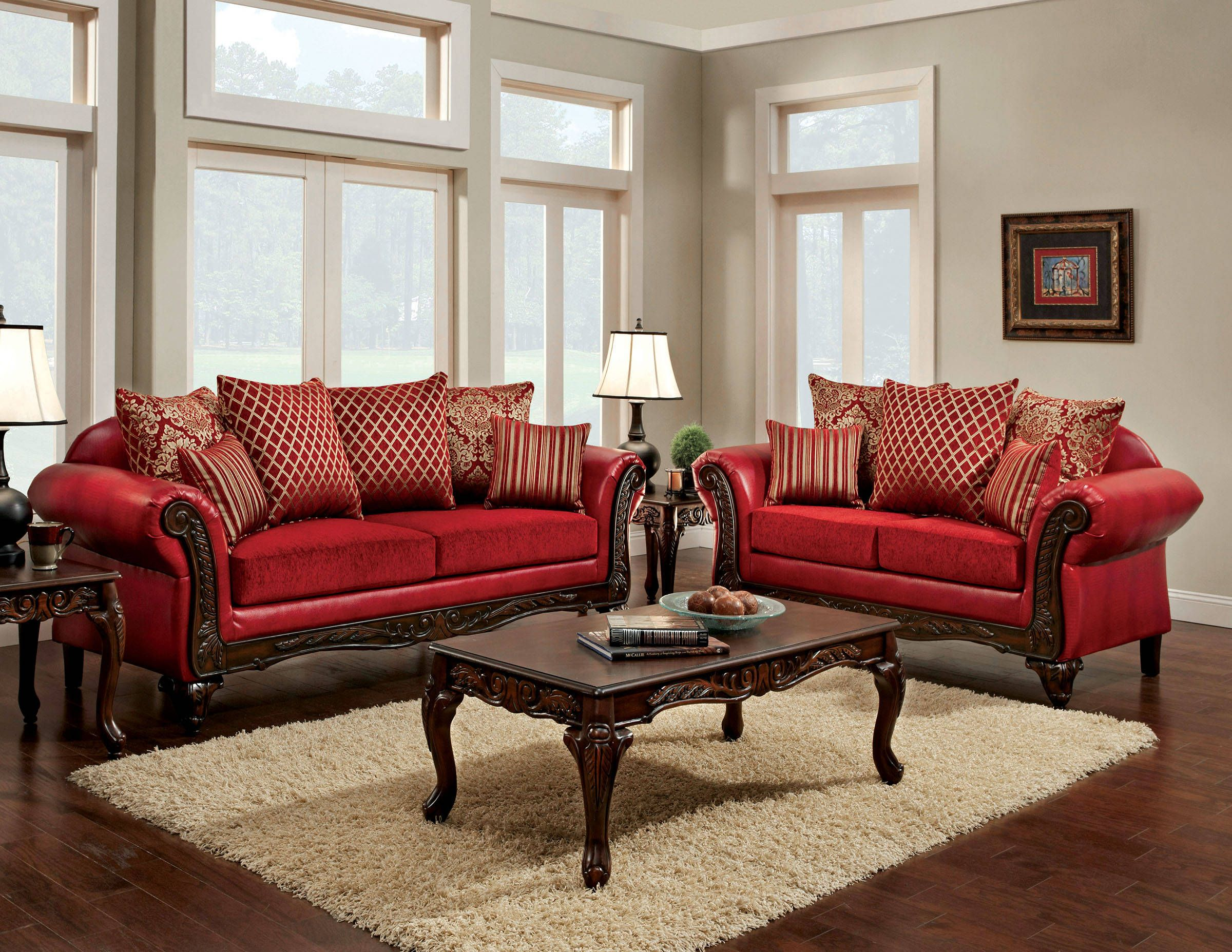 Marcus Traditional Red Fabric Leatherette Living Room Set