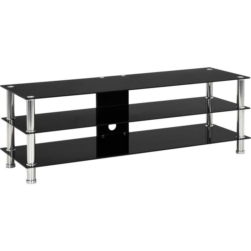 Meuble Tv Noir 120 X 40 X 40 Cm Verre Trempe 280091 Furniture