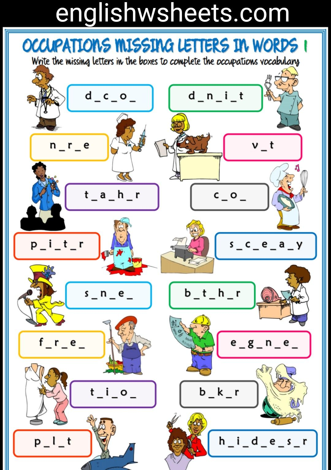 Jobs Esl Printable Missing Letters In Words Worksheets For