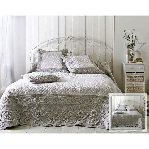 Boutis plaid ou jet de canap couvre lit matelass perle et blanc brod main becquet gris - Couvre lit matelasse blanc ...