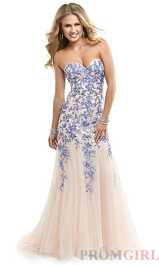 Long Strapless Dress with Lace up Back by Flirt at PromGirl.com ...