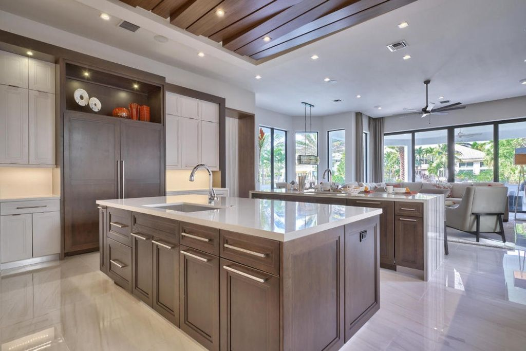 Great Modern Kitchen With One Wall High Ceiling In Boca Raton