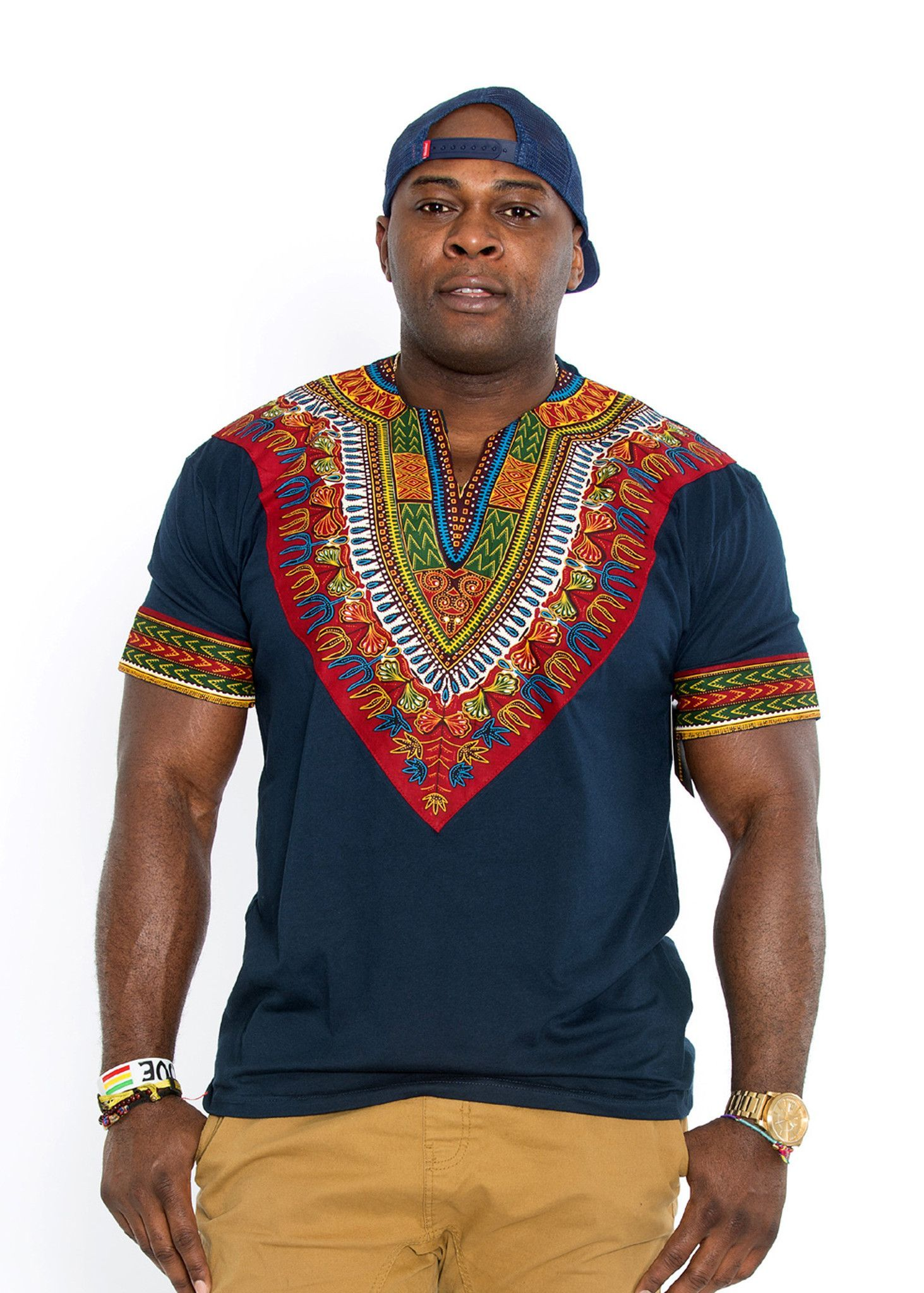 e03edee5061 Men s African Print Dashiki T-Shirt (Navy) http   www.