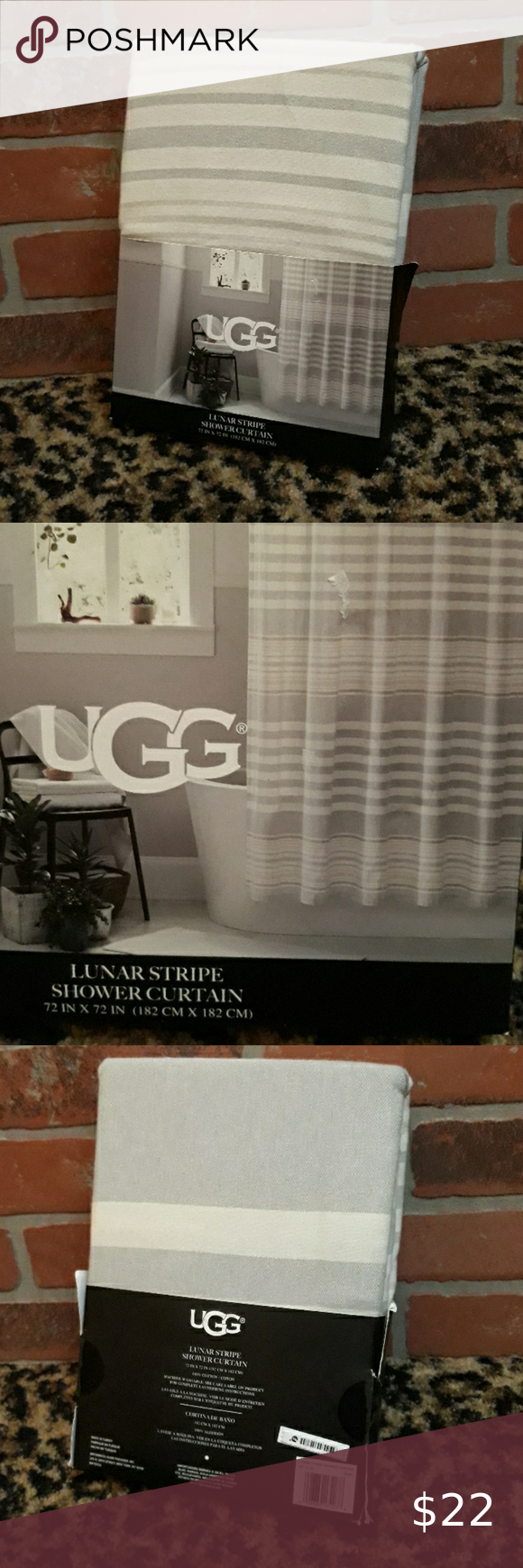 Ugg Lunar Stripe Shower Curtain Seal Gray New Nwt In 2020 With
