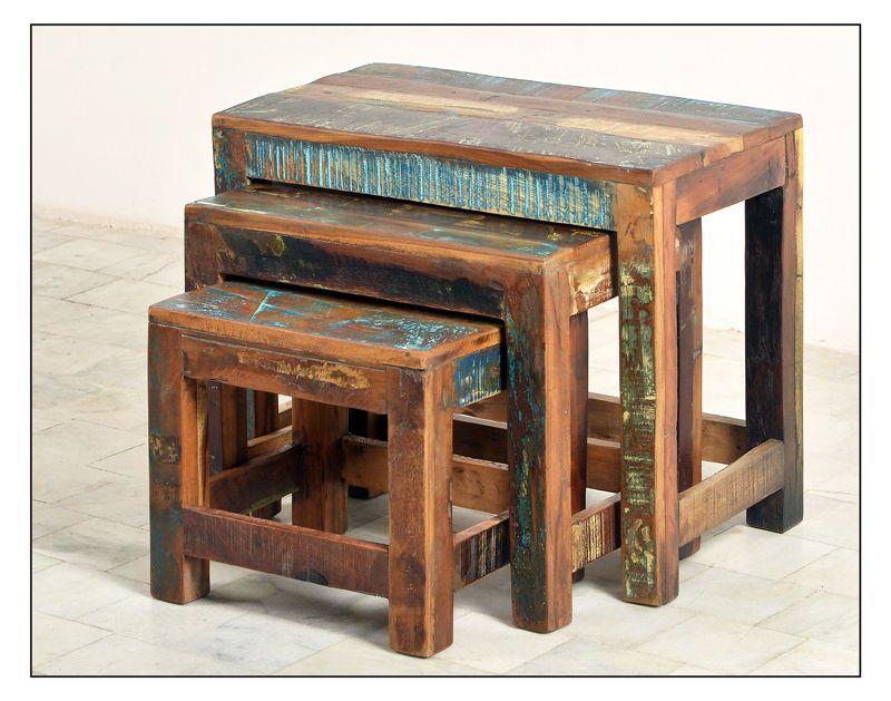 vintage m bel couchtisch set altholz teakm bel 60x50x35cm in m bel wohnen m bel kommoden. Black Bedroom Furniture Sets. Home Design Ideas