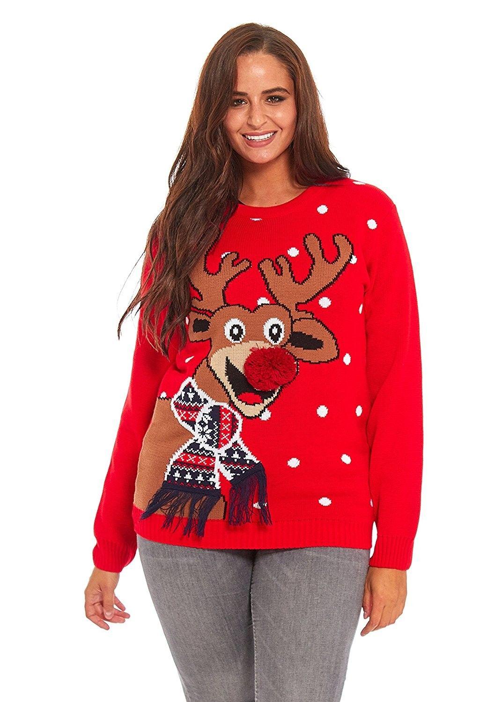 Ladies Christmas Sweater Dress Womens Tunic Xmas Fairisle Top By Ylut Scarf Reindeer Red Cn184xr9yme [ 1500 x 1072 Pixel ]