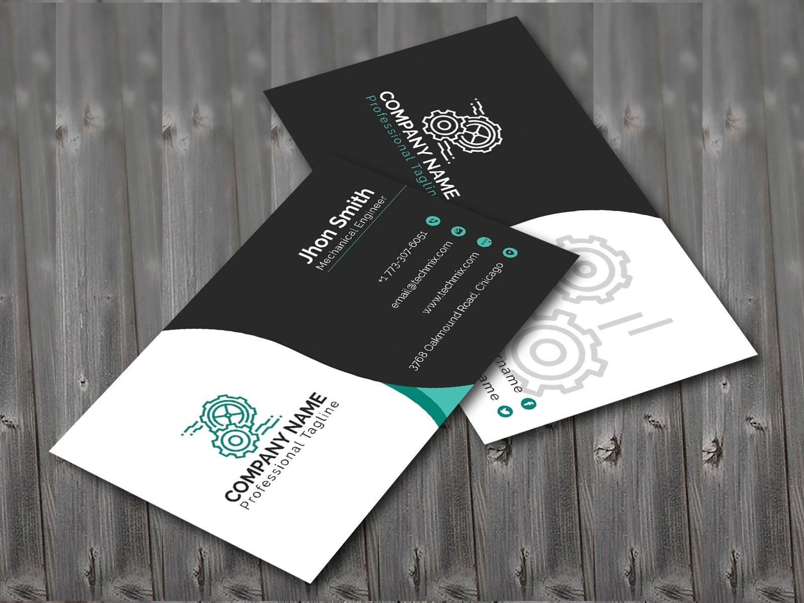 Black White Mechanical Engineer Business Card Business Cards Collection Business Card Design Creative Mechanical Engineering