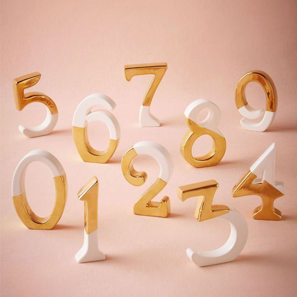 gold dipped white table numbers