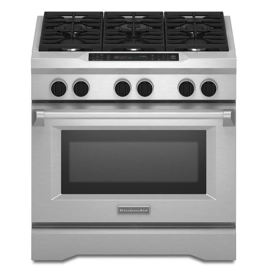 Shop KitchenAid Deep Recessed Self Cleaning Convection Single Oven Dual  Fuel Range (Stainless Steel) (Common