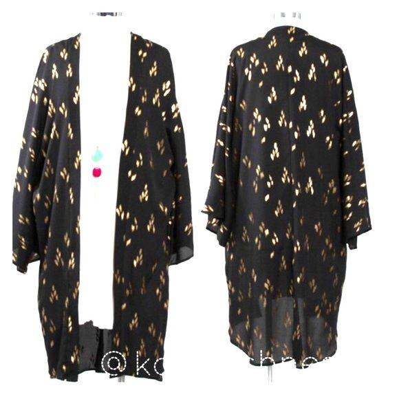 LAST ONE Black w/ Gold Foil Print Kimono Cover Up | Kimono style ...