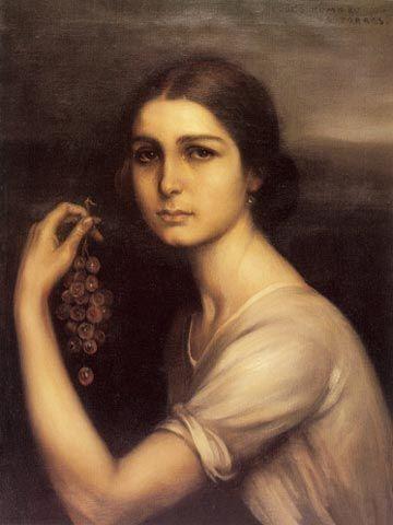 La niña de las uvas 1928 Óleo y temple sobre lienzo 60 x 32 cm ...