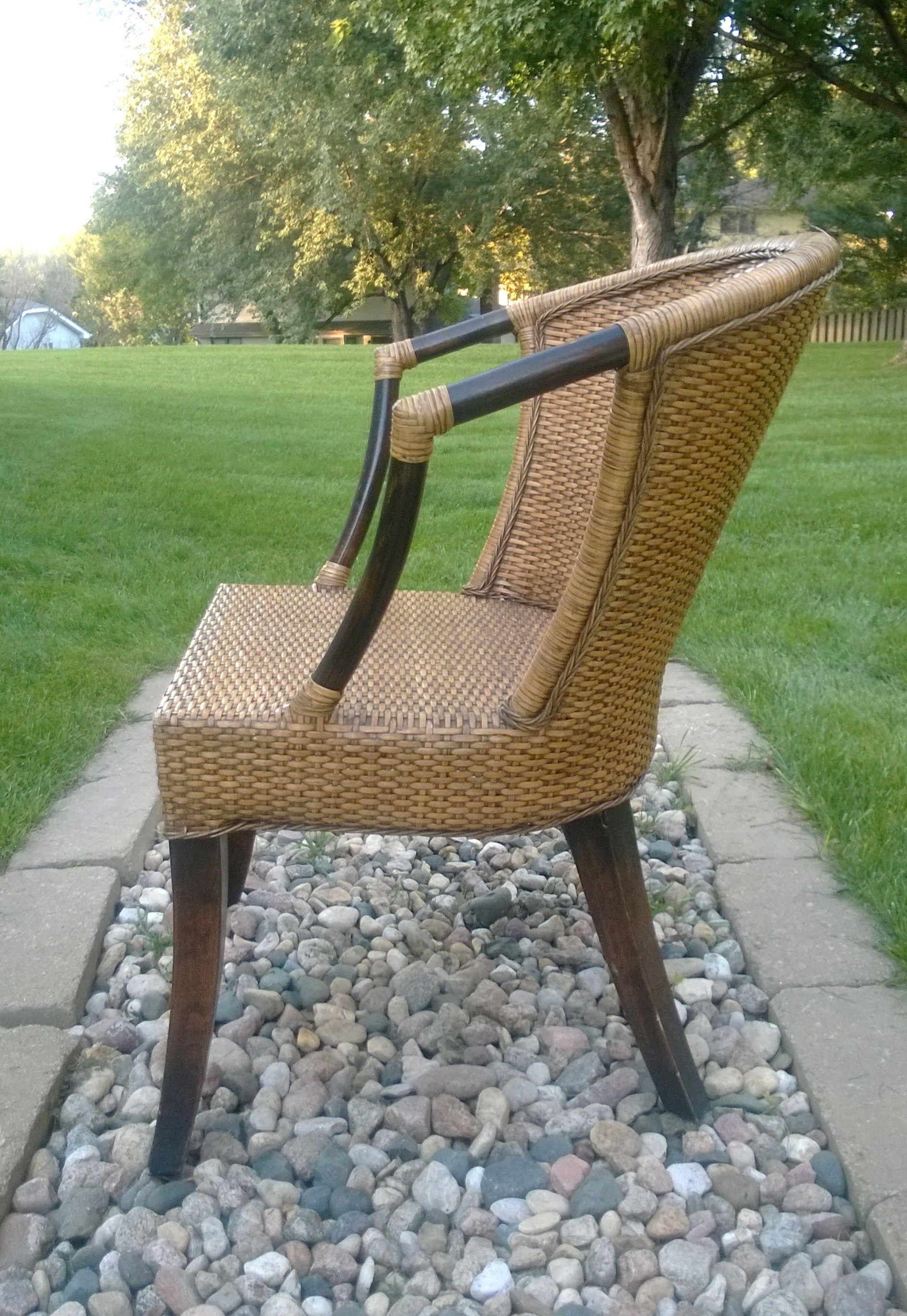 65 woven lacquerglazed rattan and hardwood barrelback