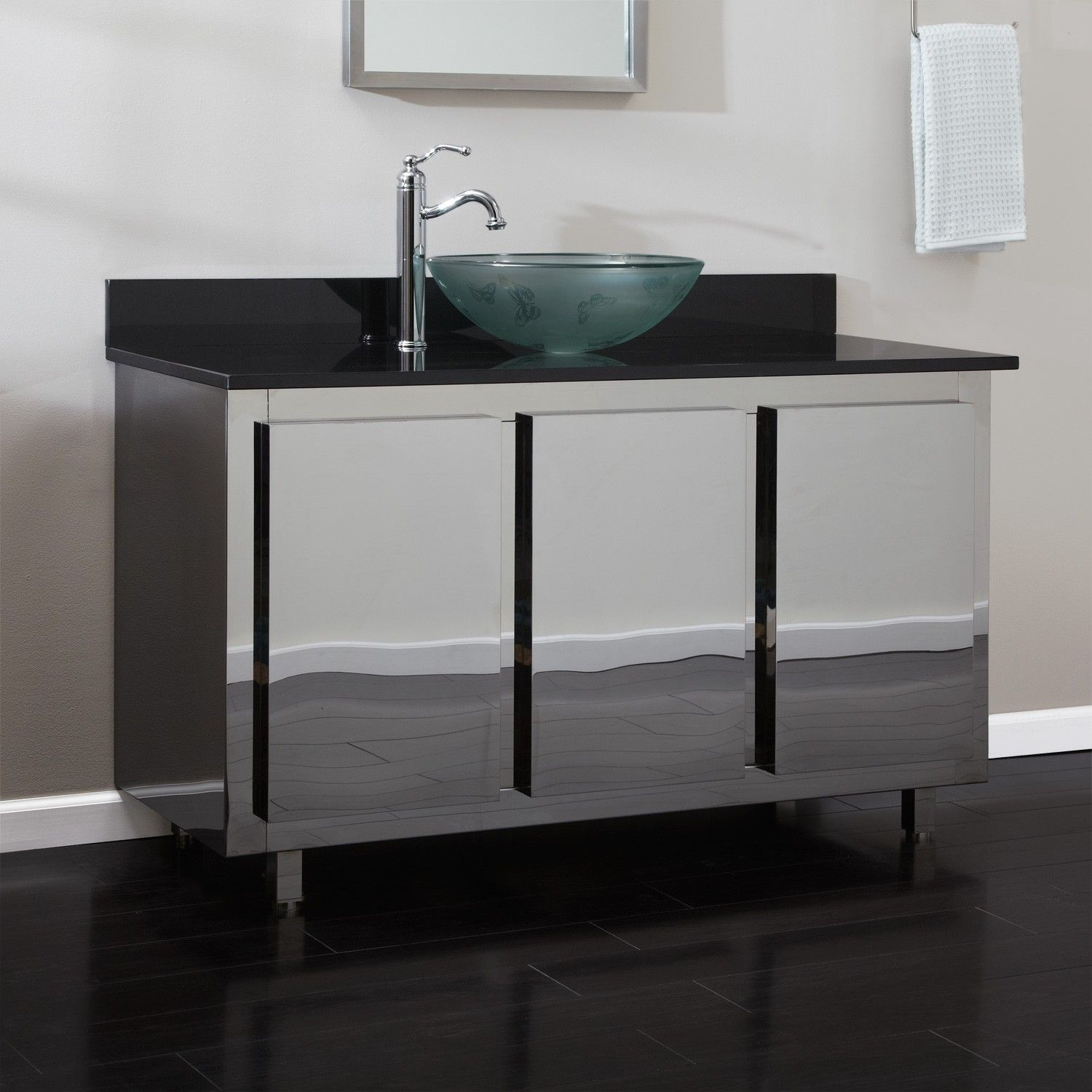 stainless steel bathroom vanity